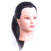 100% Human Hair 46cm Hairdresser Training Head Manikin Cosmetology Mannequin Doll (Table Clamp Holder Included) HA0212P