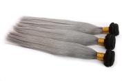 Secrect Stylist Ombre Brazilian 100 Percent Virgin Human Hair Extensions Two Tone Colour Straight Remy Human Hair Weave 3 Bundles 300g 30cm To 70cm Black Grey