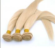 Secrect Stylist Brazilian 100 Percent Human Virgin Hair Extensions Straight Real Remy Human Hair Weave 3 Bundles 300g 30cm To 70cm Light Blonde