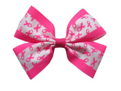 """NEW """"BREAST CANCER Clippie"""" Ribbon Hair Bow Alligator Clip 7.6cm Girls Cheerleading Practise Games School Uniform Hairbow Awareness"""