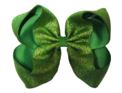 "New ""SHIMMERY GREEN"" Sparkly Hairbow Alligator Clips Girls Ribbon Bows 13cm Boutique Holiday Christmas Party St. Patty's Day Birthday"