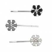 Lux Accessories White Grey Black Shimmer Stone Flower Bobby Pins