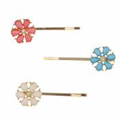 Lux Accessories Turq Coral White Shimmer Stone Flower Bobby Pins