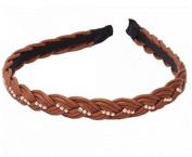 New Fashion Braided Rhinestone Girl Hair Band Brown by Ozone48