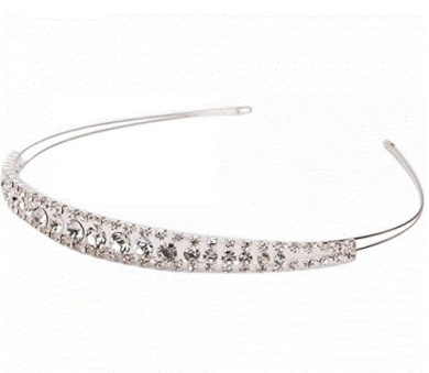 Decent Shining Two Rows Rhinestone Crown Headband by Ozone48