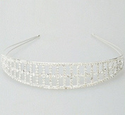 New Girl Double-Row Oblong Shape Rhinestone Diamond Hair Crown Headband Silver by Ozone48