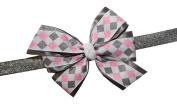 WD2U Girl Sparkling Silver & Pink Diamond Christmas Hair Bow on Stretch Headband