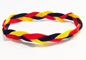 Fabulicious Black Red Yellow Braided Headband© - NON SLIP Sports Under Hair Head Band