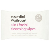 3 in 1 Facial Wipes essential Waitrose 25 per pack