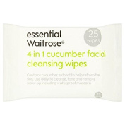 Cucumber Facial Wipes essential Waitrose 25 per pack