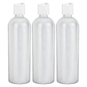 Moyo Natural Labs 16 oz Easy Squeeze HDPE Bottles Commercial Grade with White Flip Cap BPA Free Bottle Set Made in USA 473ml 16 OZ White Translucent Pack of 3