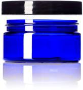 240ml Cobalt Blue Single Wall PET Plastic Jars with Black Twist Lids