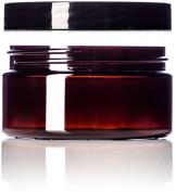240ml Amber Single Wall PET Plastic Jars with Black Twist Lids