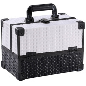 Ikee Design® White Cosmetic Travel Carrying Case with Sturdy Black Aluminium Frame with FREE Makeup Brush Set
