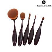 Fashion Base® 2016 New Professional 5pcs/set Tooth Brush Shape Oval Makeup Brush Set Professional Foundation Powder Brush Kits