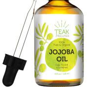 100% ORGANIC Teak Naturals Jojoba Oil - 120ml - Pure Cold Pressed Unrefined Natural - Made In The USA