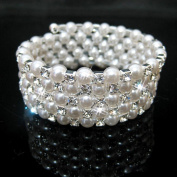 joylive Five Rows Fauxl Crystal Rhinestone Pearls Accessory Bracelet For Party Evening Bridal