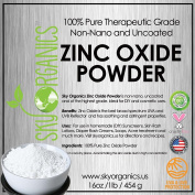 Zinc Oxide Powder By Sky Organics 470ml- Uncoated & Non-Nano- 100% Pure Cosmetic Grade- For DIY Sunscreen, Lotion, UVA and UVB protection- Ideal for Nappy Rash Cream