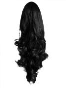 Elegant Hair - 60cm Ponytail Clip in Hair Extensions Piece WAVY Black #1b REVERSIBLE Claw Clip 250g