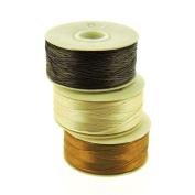 NYMO Nylon Beading Thread Size D for Delica Beads, 64 Yards per Bobbin, Brown, Champagne & Golden