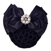 JiaHui Black Professional Woman Bowknot Decor Barrette Snood Net Hair Clip for Stewardess/Banks/Hotels/Nurse/Property/Restaurant Staff
