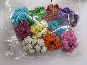 100 Mixed Colour 10mm Artificial Mulberry Paper Rose Flower Wedding Scrapbook 1.5cm Diy Craft Scrapbook Pink Scrapbooking Bouquet Craft Stem Handmade Rose Valentines Anniversary Embellishment