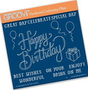 Groovi Parchment Embossing Plate - Happy Birthday A5 - Laser Etched Acrylic for Parchment Craft