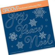 Groovi Parchment Embossing Plate - Xmas Words & Snowflakes A5 - Laser Etched Acrylic for Parchment Craft