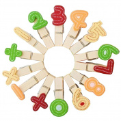SZTARA 14pcs Wooden Colourful Number Photo Clips Clothespins Pegs Home Kitchen Tools Wedding Party Decoration