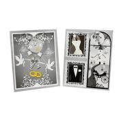Black & White Glossy Elegant Wedding Gift Bags - 2 Pack, 33cm x 27cm x 14cm