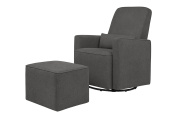 DaVinci Olive Upholstered Swivel Glider with Bonus stationery Ottoman with Piping, Dark Grey