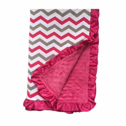 BayB Brand Blanket - Grey and Hot Pink Chevron with Pink