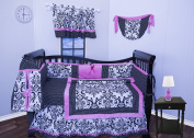 Beautifull 9 Pcs Crib Bedding Nursery set Pink Black Damask bumper included High quality soft and cute