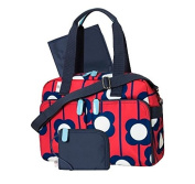 Orla Kiely 3-Piece Satchel Nappy Bag Tote Large Red Floral