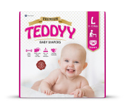 Teddyy Premium Baby Nappy Size 3 Large 36 Count