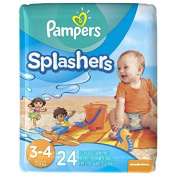 Pampers Protection Leaks Super Stretchy Splashers Baby Nappies ,Size 3-4 - 24 ct,Won.t swell up in water