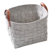 Felt Storage Basket, LOONG BABY Soft Felt Storage Bin, Handmade Storage Box with PU Handle for Household Kids Room Storage