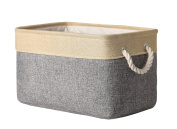 TheWarmHome Collapsible Rectangular Household Fabric Storage Organiser Basket with Handles for Kids,Grey Patchwork