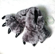 YunNasi Brown Grizzly Bear Paw Slippers House Slipper for Men Women