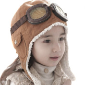 Ewandastore Unisex Baby Kids' Pilot Aviator Fleece Warm Hat Cap with Earmuffs