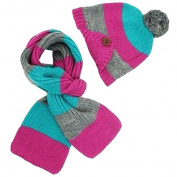 Ewandastore Winter Warm Kids Baby Boys Girls Beanie Stripe Knit Wool Hat with Scarf Set