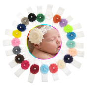 Alonea 21PC Baby Girl Newborn Toddler Lace Chiffon Flower Elastic Headband