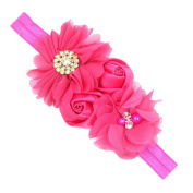 Alonea Baby Girl Newborn Toddler Chiffon Rose Flower Elastic Headband