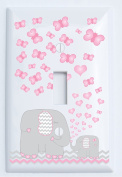 Pink Elephant Light Switch Plate Covers / Single Toggle / Elephant Nursery Decor with Grey and Pink Chevron Switch Plates with Pink Hearts and Butterflies