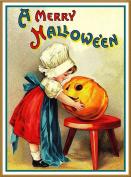 Little Girl Pumpkin Halloween Counted Cross Stitch Pattern