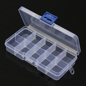 BephaMart 10 Compartment Plastic Clear Slots Adjustable Organiser Craft Box