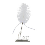 PIXNOR Wedding Pen Set White Feather Signing Pen with Metal Love Holder
