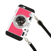 iPhone 6s Case Cute, iPhone 6 Cases for Teen Girls, 3D Camera Unique Design Case PC + Silicone Shockproof Hybrid Cover Case with Neck Lanyard