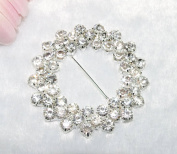 10 Pieces 62mm 2 Rows Clear Rhinestone Round Buckle Invitation Ribbon Slider Wedding Supply Gift Wrap Hairbow Centre
