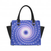 Artsadd Blue and Pink Spiral Art Classic Women Handbag Shoulder Handbag Tote Bag